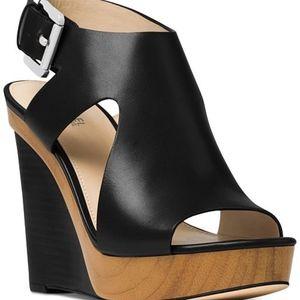 MICHAEL KORS Black Leather Josephine Wedge Sandals